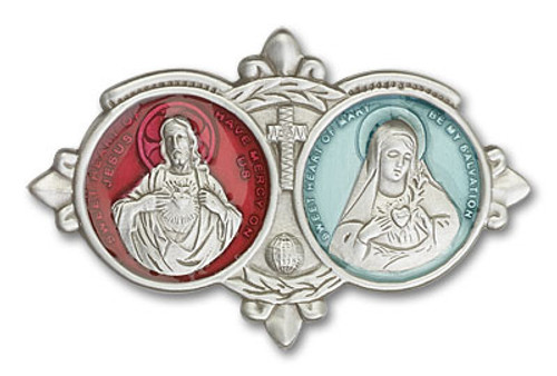 Jesus & Mary Visor Clip with Red & Blue | Multiple Finishes Available