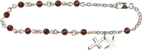 Cross & Holy Spirit Charm Bracelet with Swarovski Crystal Beads | Silver Plate