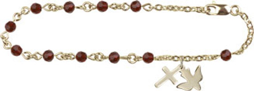 Cross & Holy Spirit Charm Bracelet with Swarovski Crystal Beads | Gold Plate
