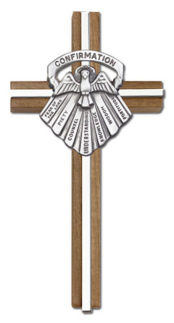 "6"" Walnut Confirmation Cross with Antique Inlay 