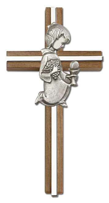 "6"" Communion Girl Walnut Cross with Antique Inlay 