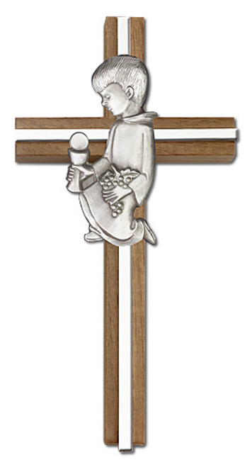 "6"" Communion Boy Walnut Cross with Antique Inlay 