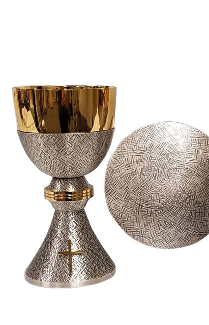 """#795 Cross Hatched Silver Chalice & Paten   7 1/2"""", 16oz.   Oxidized Silver & 24K Gold Plated"""
