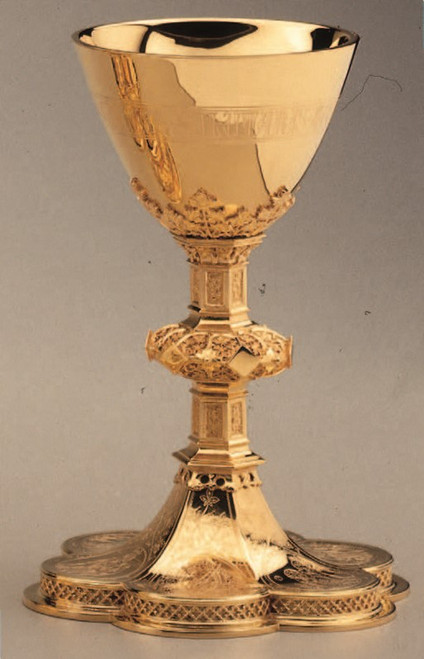 """#2397 8 3/4"""", 10 oz. Chalice & Scale Paten with Ring   Brass and Sterling Silver   24K Gold Plated"""