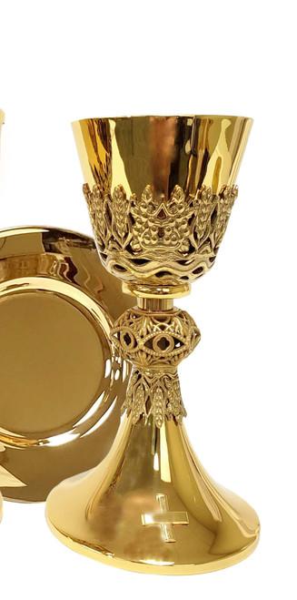 "#445 Wheat & Grape Chalice & Paten   8 1/2"", 12oz.   24K Gold-Plated"