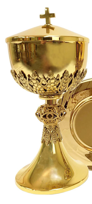 #445 Wheat & Grape Ciborium   Holds 275 Hosts   24K Gold-Plated