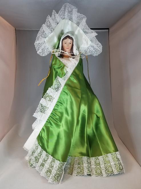 "Green Infant of Prague Dress | Satin | 18"""
