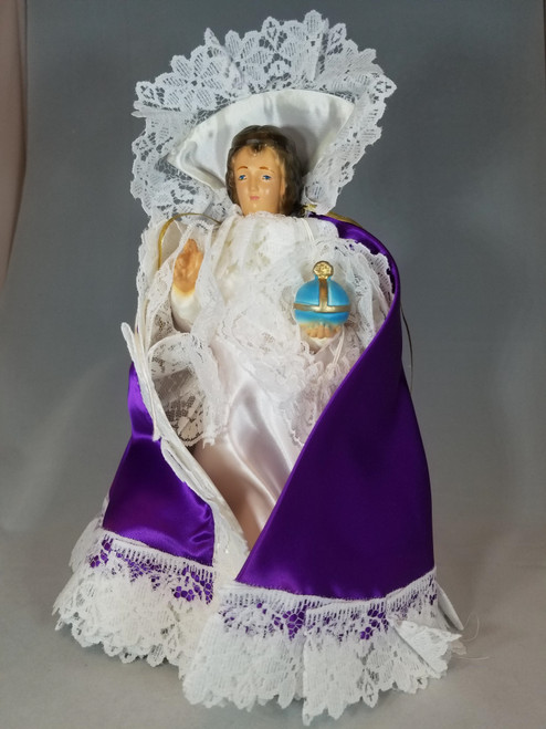 "Purple Infant of Prague Dress | Satin | 12"""