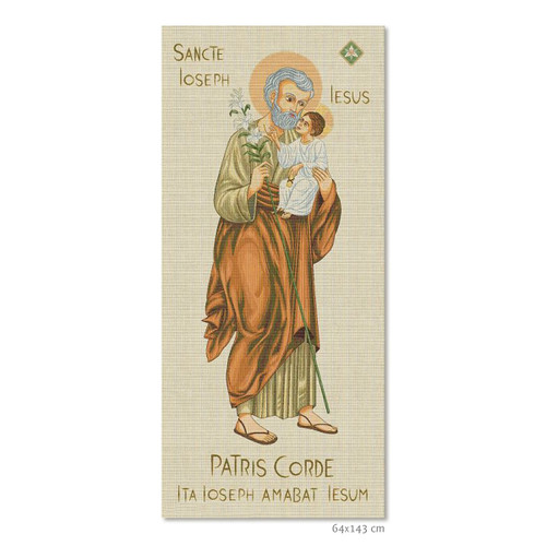 "#6092 Year of Saint Joseph Patris Corde Large Tapestry | 25"" x 56"""