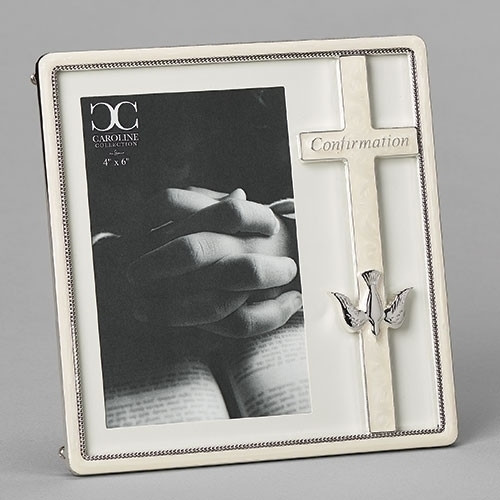 """White Cross Engraved Confirmation Frame 