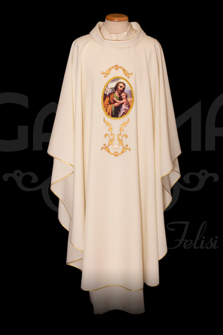 #321 Printed & Embroidered Saint Joseph Chasuble | Roll Collar | 100% Polyester