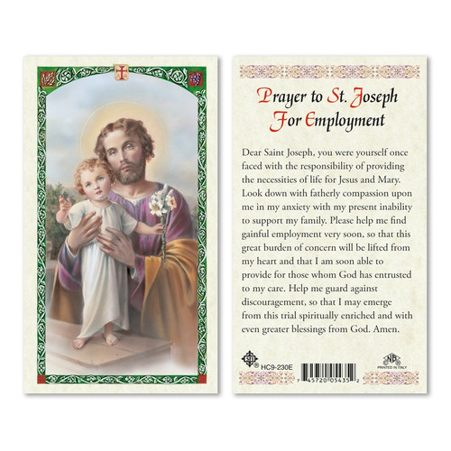 Prayer to St. Joseph for Unemployment Holy Card