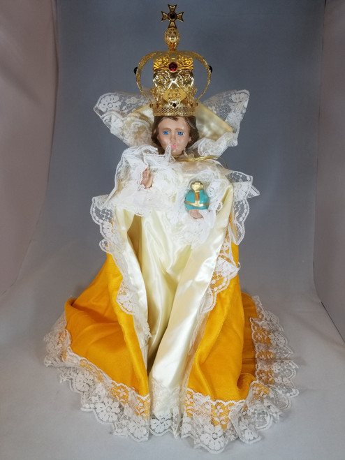 "Gold Velvet Infant of Prague Dress for 14"" Statue"