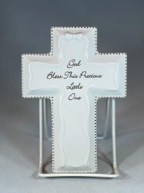 "6"" God Bless This Little One Baptism Wall Cross | Porcelain | White"