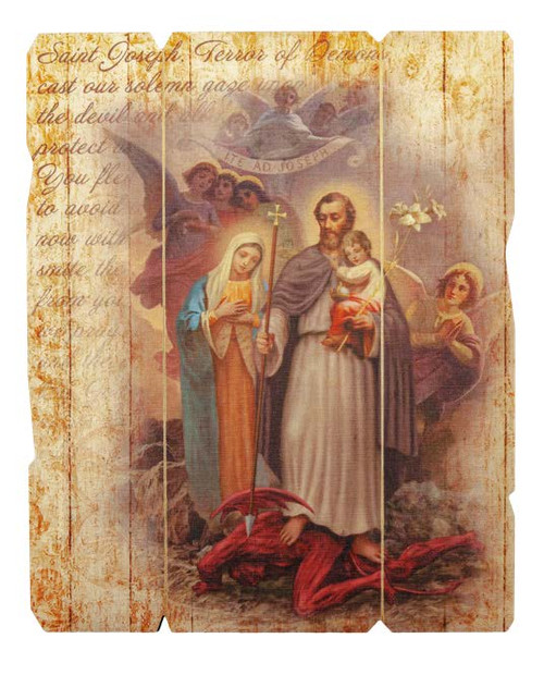Saint Joseph, Terror of Demons Wood Plaque | Made In Italy