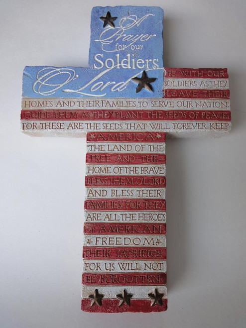"""8"""" Soldiers Prayer Cross with Engraved Prayer & American Flag Motif Colors"""