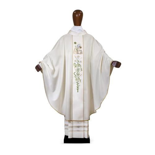#6092 Ornate Year of Saint Joseph Patris Corde Chasuble | Poly/Wool & Silk | All Colors