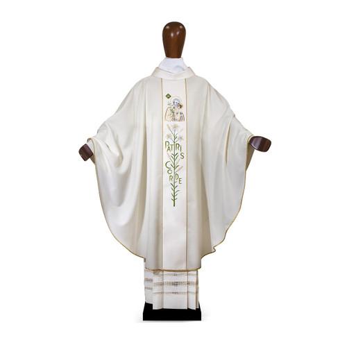 #6092 Ornate Year of Saint Joseph Patris Corde Chasuble | Poly/Wool & Silk | All Colors