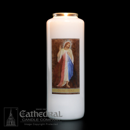 Single Divine Mercy 6-Day Glass Candles | One Candle