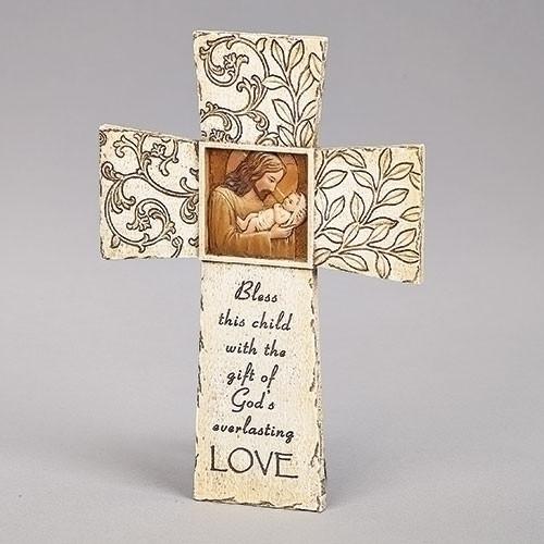 "8.75"" Jesus Loves Me Baptismal Wall Cross | Resin"