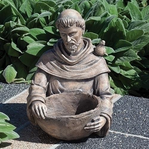 "19"" Saint Francis Bird Bath/Flower Pot | Antique Finish - Resin"