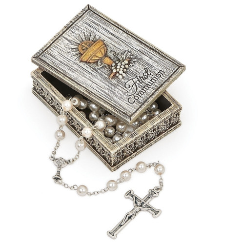 First Communion Keepsake Rosary Case | Distressed Resin