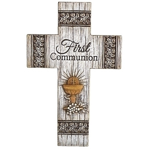 """8.75"""" First Communion Distressed Wall Cross 