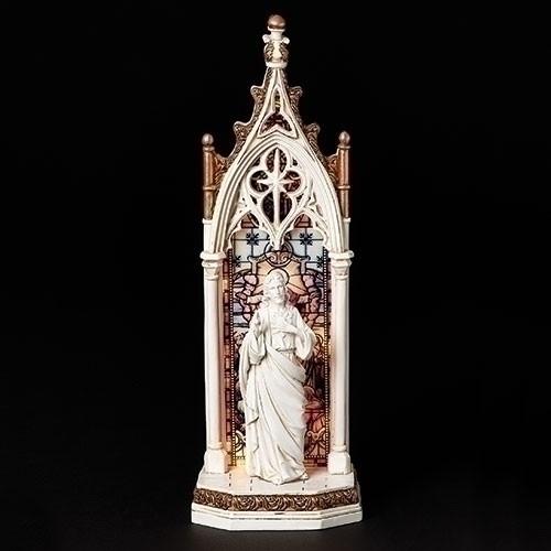 "11.75"" Sacred Heart of Jesus LED Arch Window Figure | Resin"