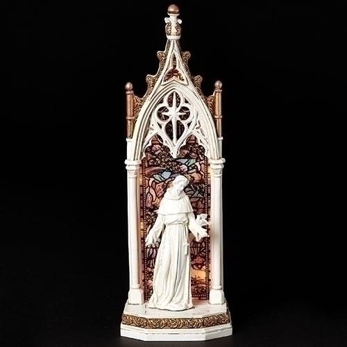 "11.75"" Saint Francis LED Arch Window Figure | Resin"