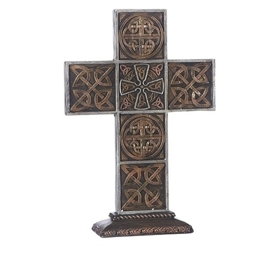 "13.5"" Standing Bronze Celtic Cross 