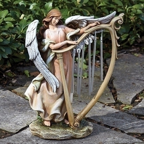 "13.25"" Angel with Wind Chime Harp 