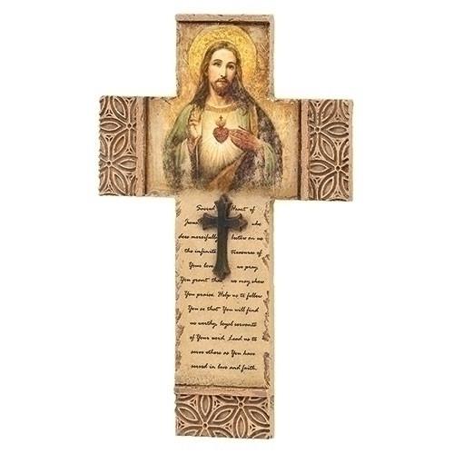 "8"" Sacred Heart of Jesus Cross | Resin/Stone Mix"