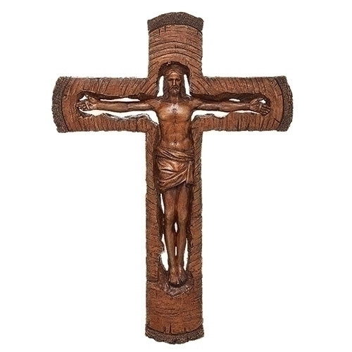 """12"""" Crucifix in """"Hand Carved"""" Style 