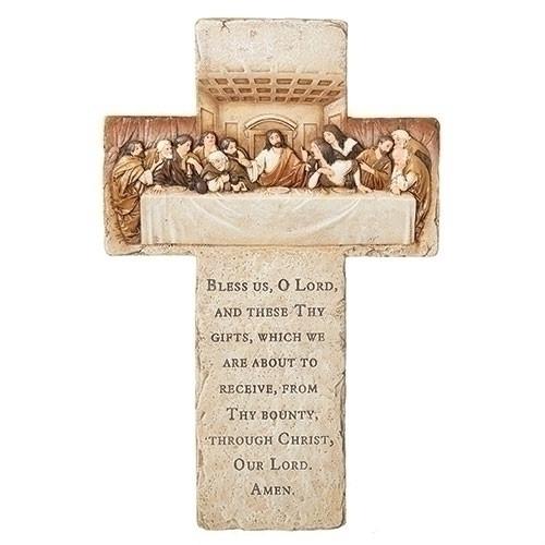 "13.25"" Last Supper Grace Prayer Cross | Resin/Stone Mix"