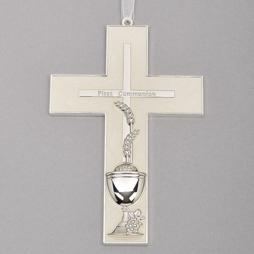 "7"" First Communion Hanging Wall Cross"
