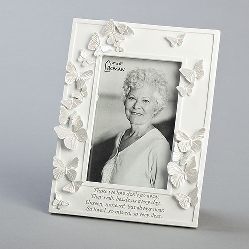 """8.5"""" Memorial Butterfly Picture Frame with Engraved Prayer 