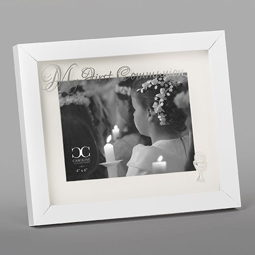 """8"""" First Communion White Shadowbox-Style Picture Frame 