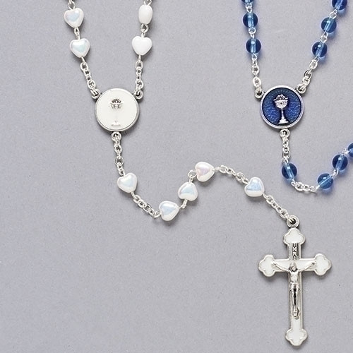 "16"" White First Communion Rosary with Heart-Shaped Beads"