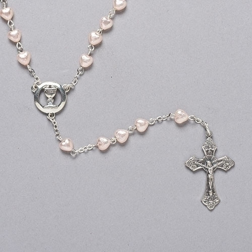 "18"" Pearl First Communion Rosary with Heart-Shaped Beads"