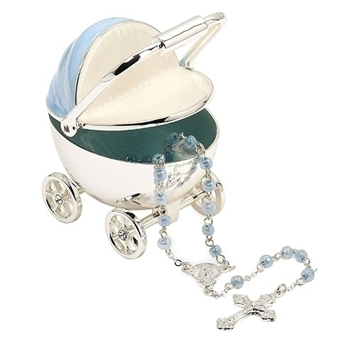 Blue Baby Carriage Keepsake with Rosary | Metal/Glass