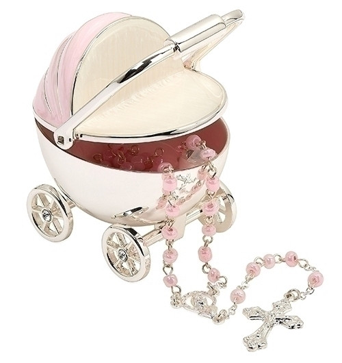 Pink Baby Carriage Keepsake with Rosary | Metal/Glass