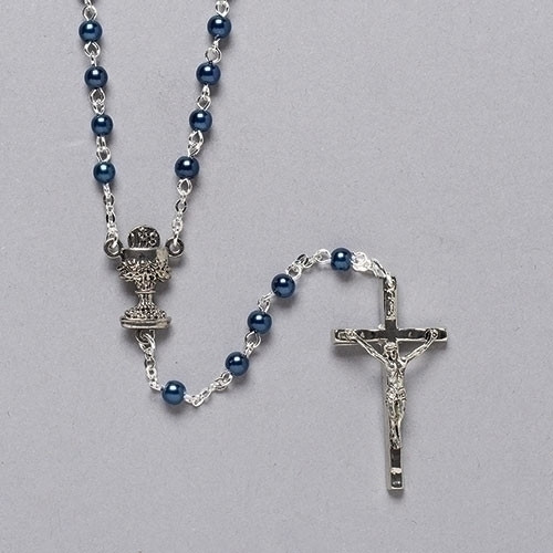 "15"" Blue First Communion Rosary with Round Beads"