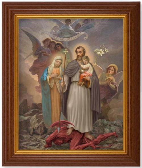 "Saint Joseph ""Terror of Demons"" Dark Walnut Framed Art | 8"" x 10"""