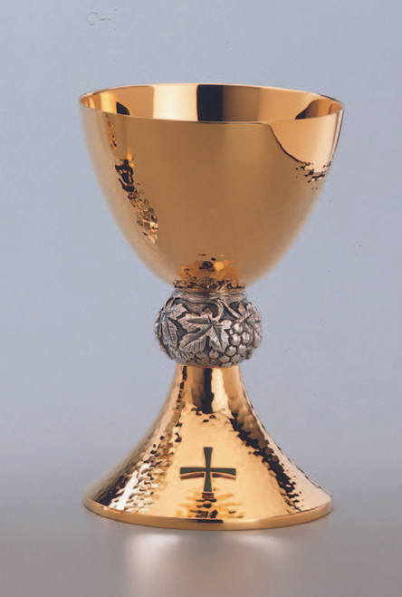 """#2590 Hammered Chalice & Bowl Paten 