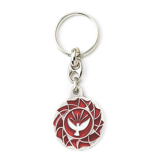 Holy Spirit Red Enamel Key Ring | Made In Italy