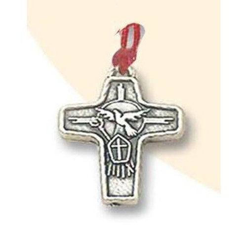 Holy Spirit Silver Tone Cross on Cord | Made In Italy