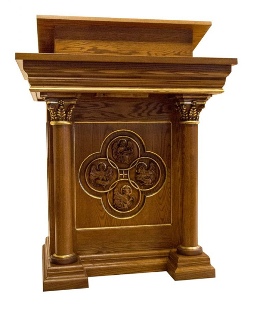 #48 Four Evangelists Ambo with Optional Gold Leaf | Oak | Multiple Finishes Available