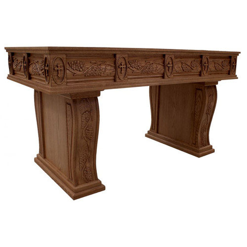#31 Carved Grapes & Leaves Open Leg Altar of Sacrifice | Oak | Multiple Finishes Available