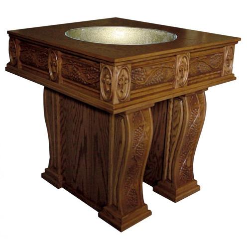 #31 Carved Grapes & Leaves Open Leg Baptismal Font   Oak   Multiple Finishes Available