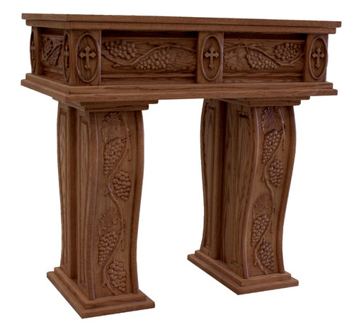 #31 Carved Grapes & Leaves Credence Table | Oak | Multiple Finishes Available